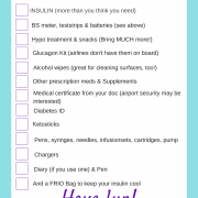 travel checklist diabetes