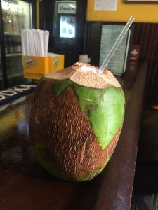 Yummy fresh coconut in San Juan, Puerto Rico